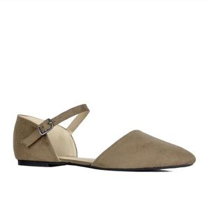 Refresh Faux Suede Ankle Strap Flats